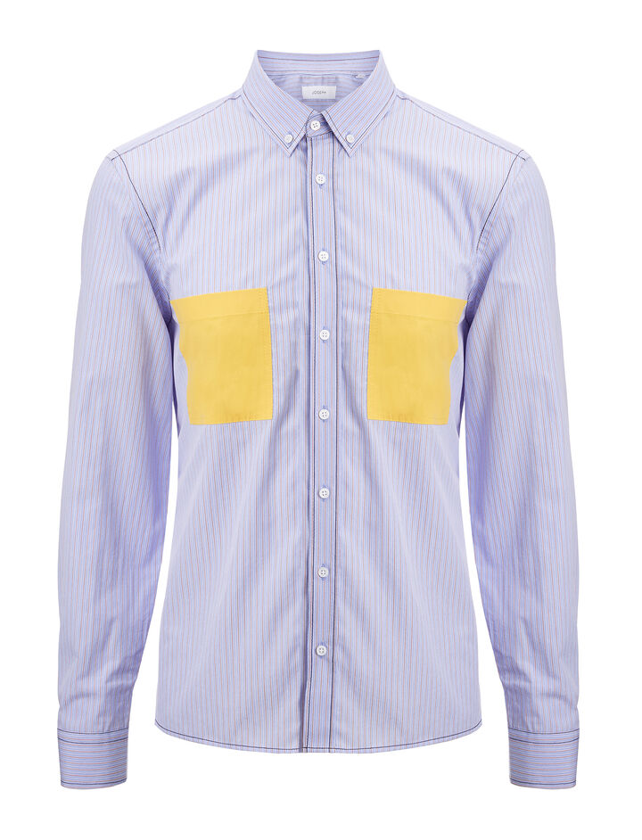 Joseph, Blue Stripes Coates Shirt, in BLUE/RED