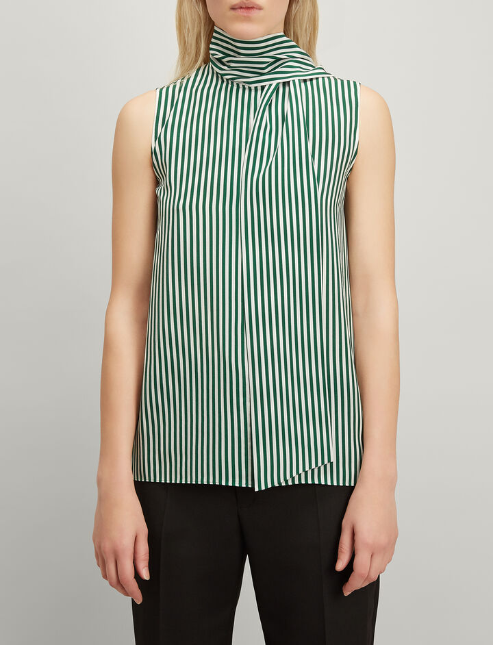 Deck Chair Stripe Silk Noon Blouse, in EMERALD, large | on Joseph