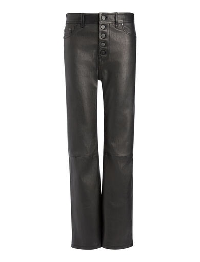 Leather Stretch Den Trousers, in BLACK, large | on Joseph