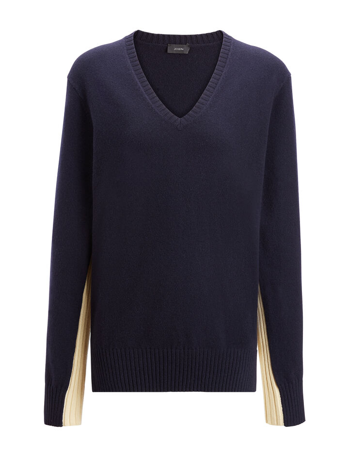 Mongolian Cashmere V Neck Sweater, in NAVY, large | on Joseph