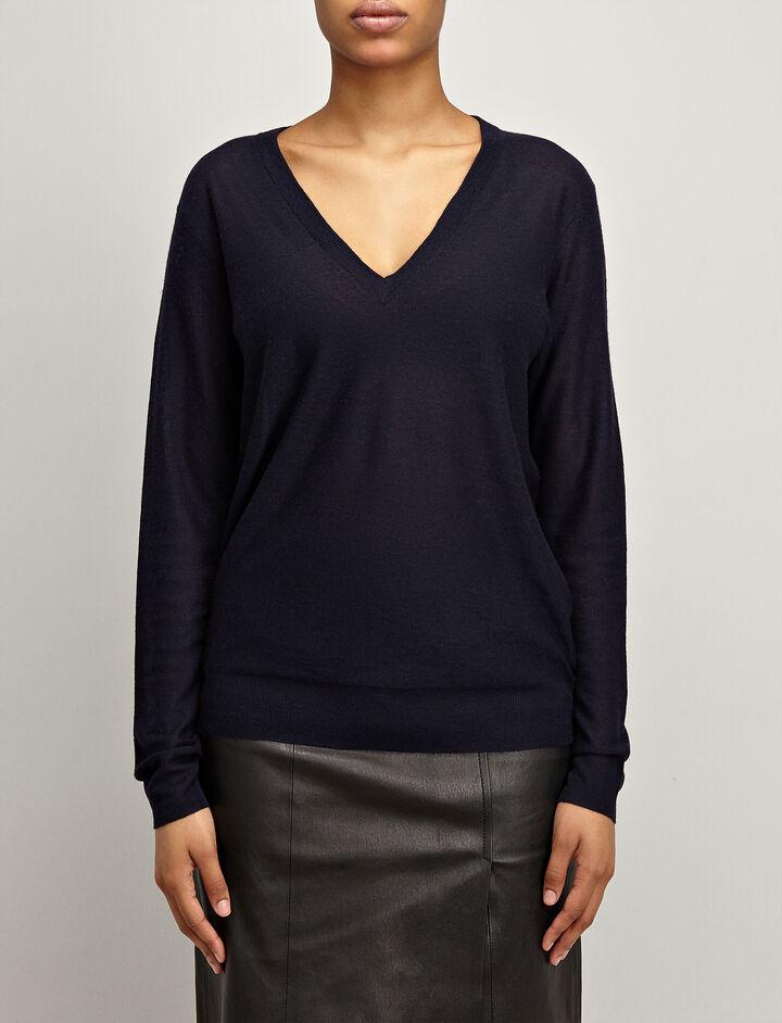 Cashair V Neck Sweater, in NAVY, large | on Joseph
