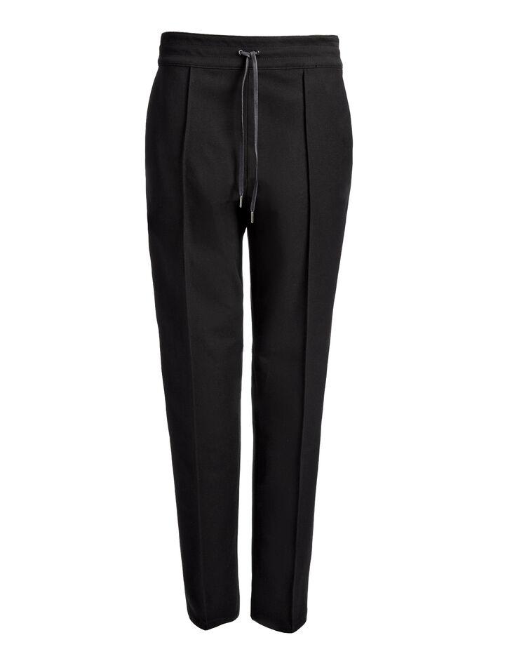Gabardine Stretch Base Tuxedo Trousers, in BLACK/WHITE, large   on Joseph