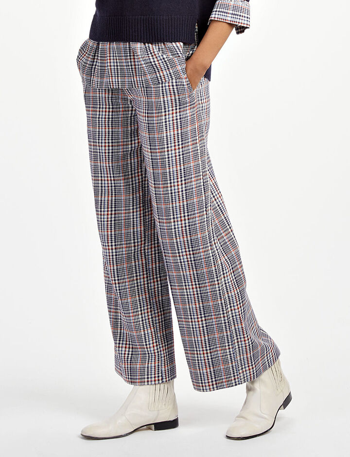Elton Check Ferrandi Crop Trousers, in NAVY, large | on Joseph