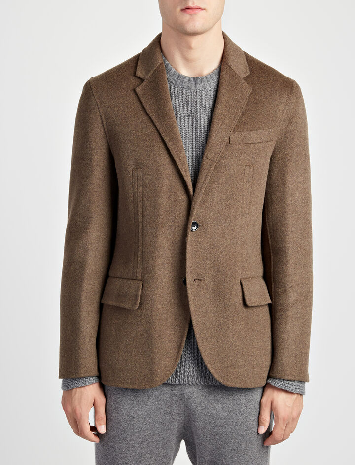 Double Face Cashmere Mells Jacket, in MILITARY, large | on Joseph