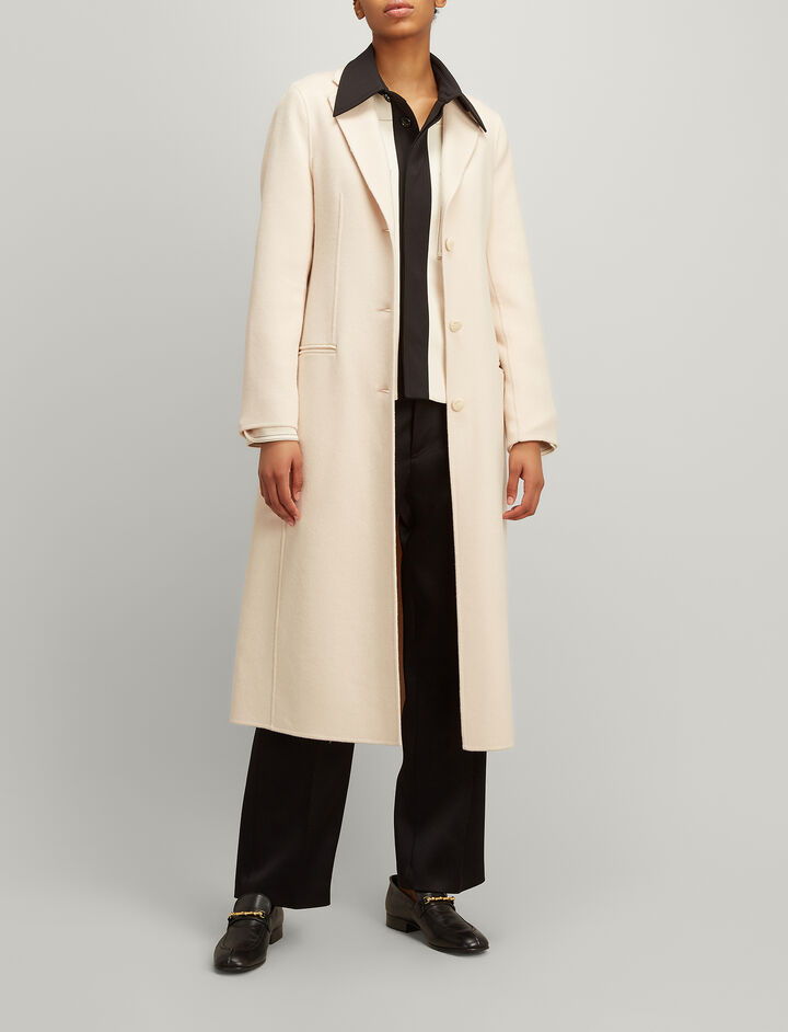 Double Wool-Silk Archi Coat, in OYSTER, large | on Joseph