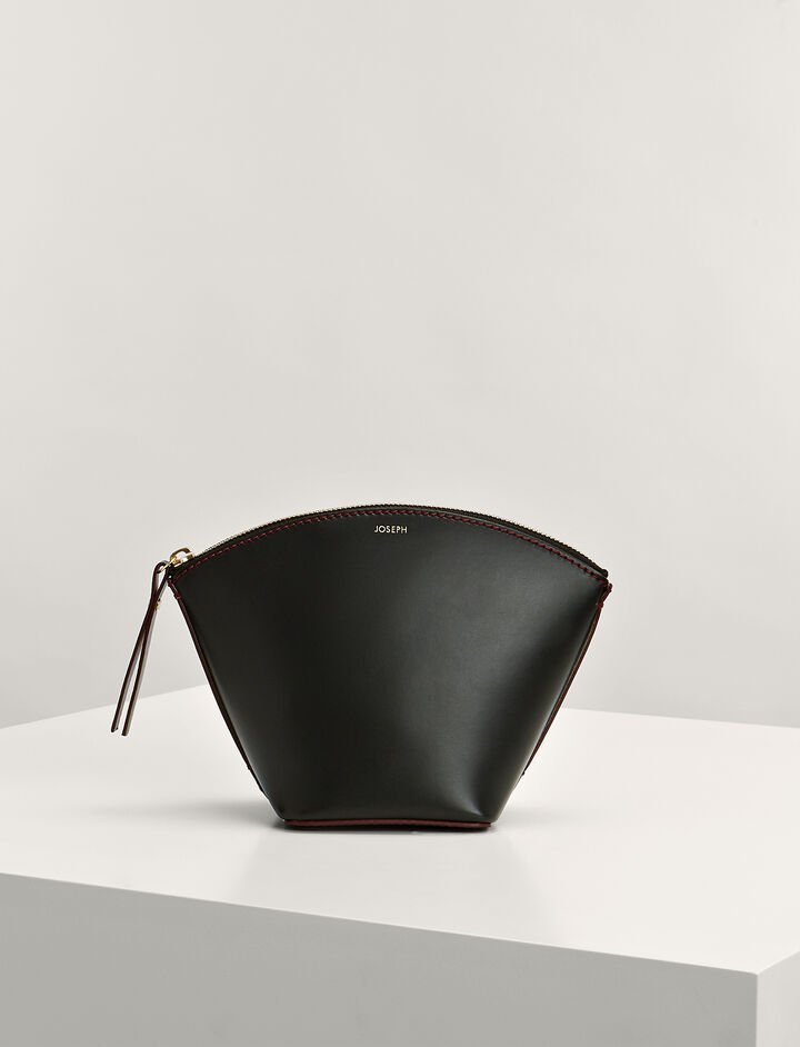 Calf-Leather Taco Clutch Bag, in BLACK, large | on Joseph