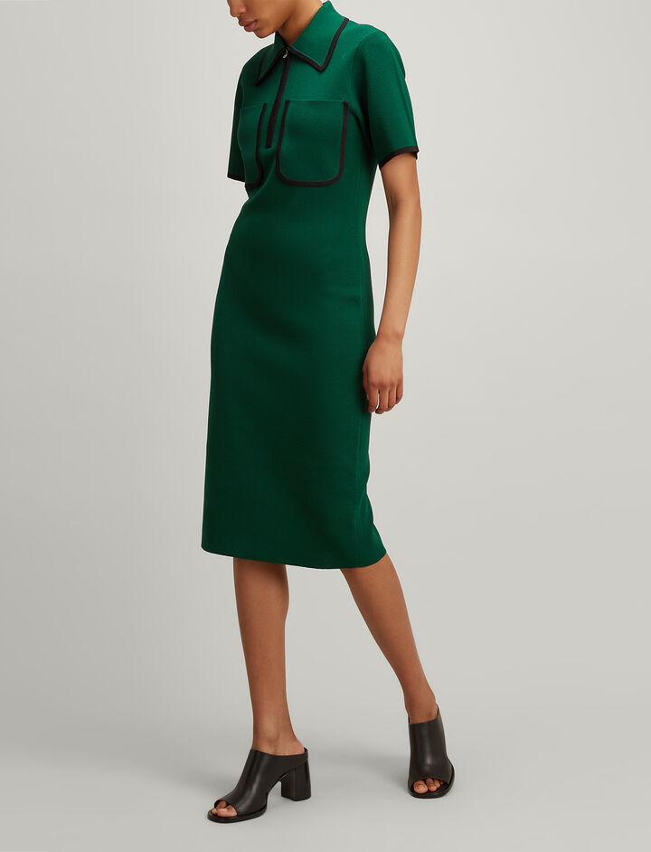 Nylon Milano Arlene Dress, in EMERALD, large | on Joseph