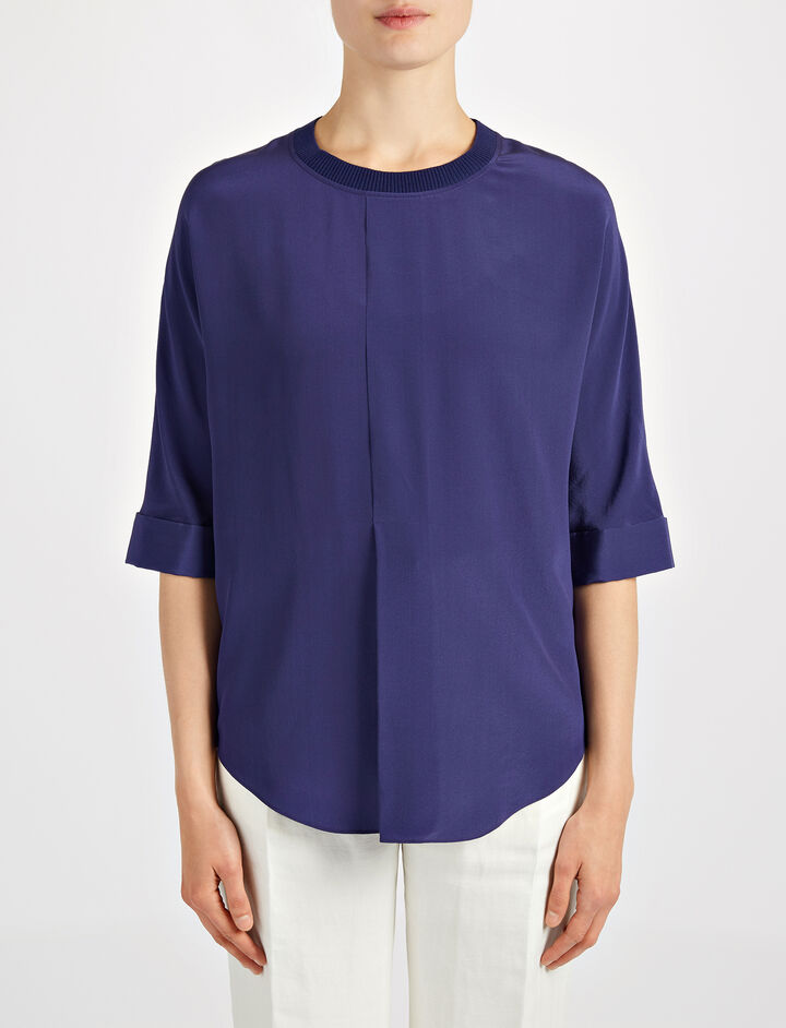 Crepe de Chine Caro Blouse, in MARINE, large | on Joseph