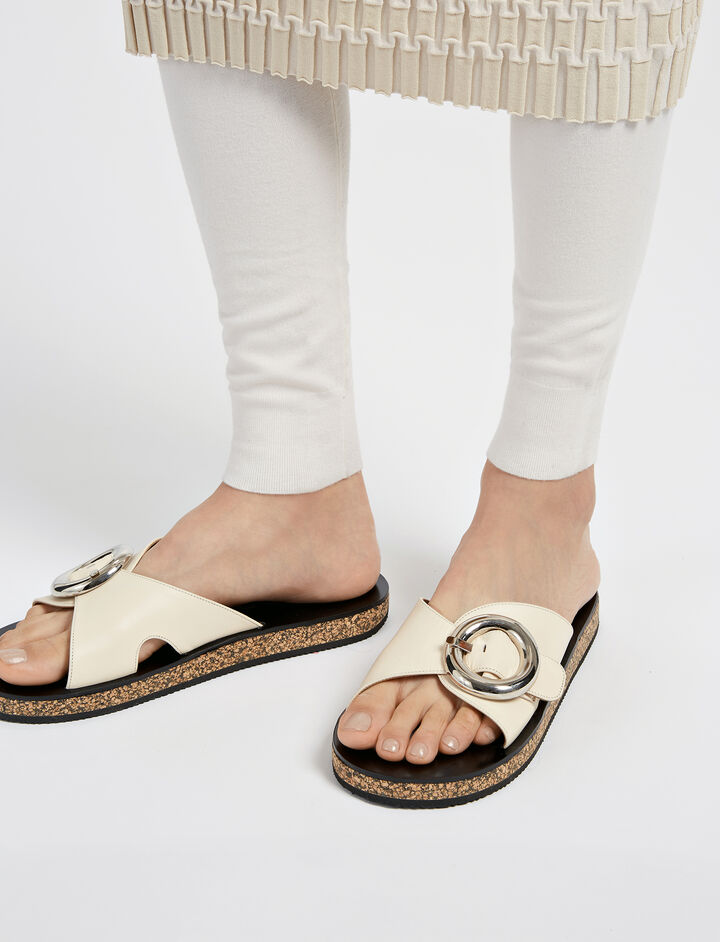 Calf Leather Slides, in WHITE, large | on Joseph