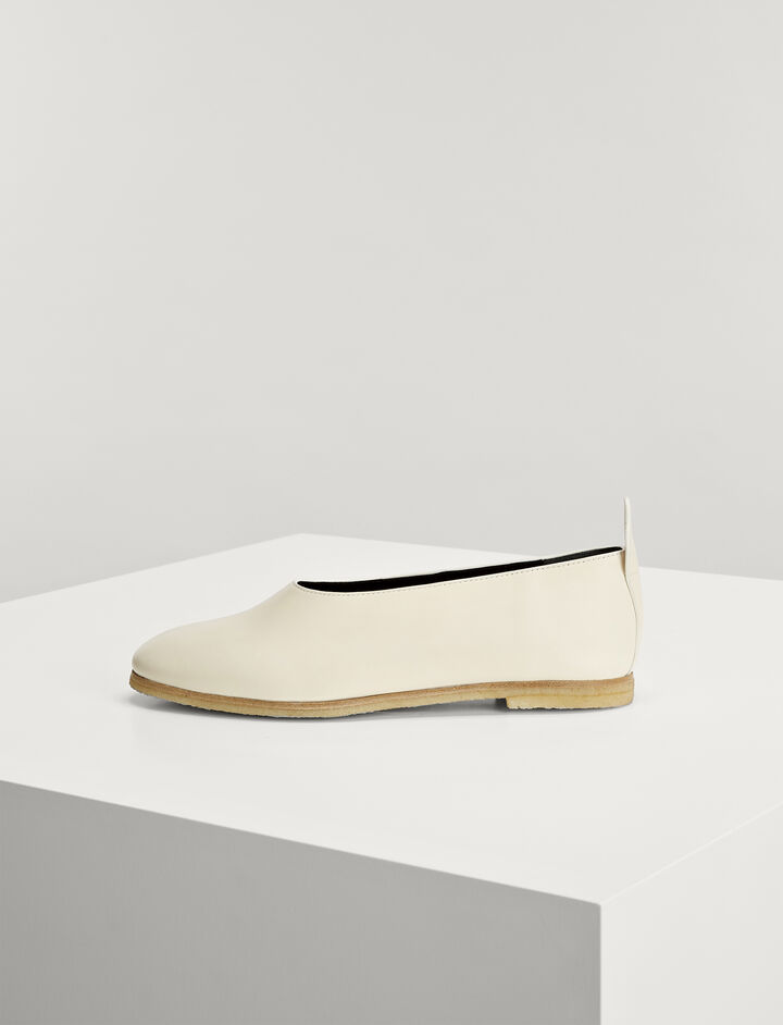 Joseph, Calf Leather Ballerina, in WHITE