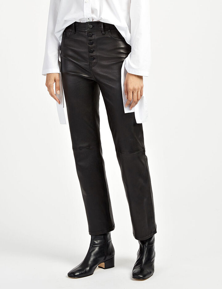 Pantalon Den en cuir stretch, in BLACK, large | on Joseph