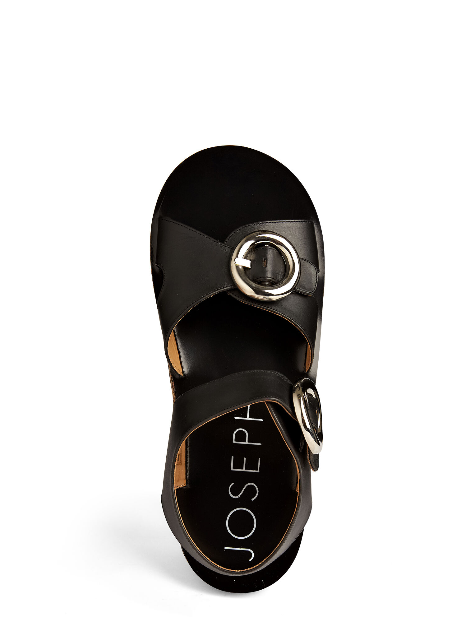 Calf Leather Buckle Sandal, in BLACK, large | on Joseph