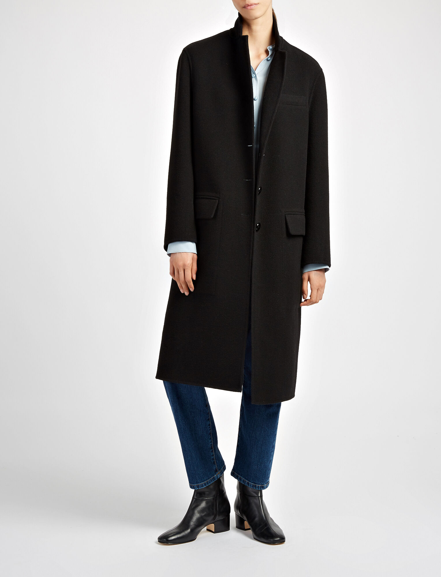 Joseph, Double Face Wool Simo Coat, in BLACK