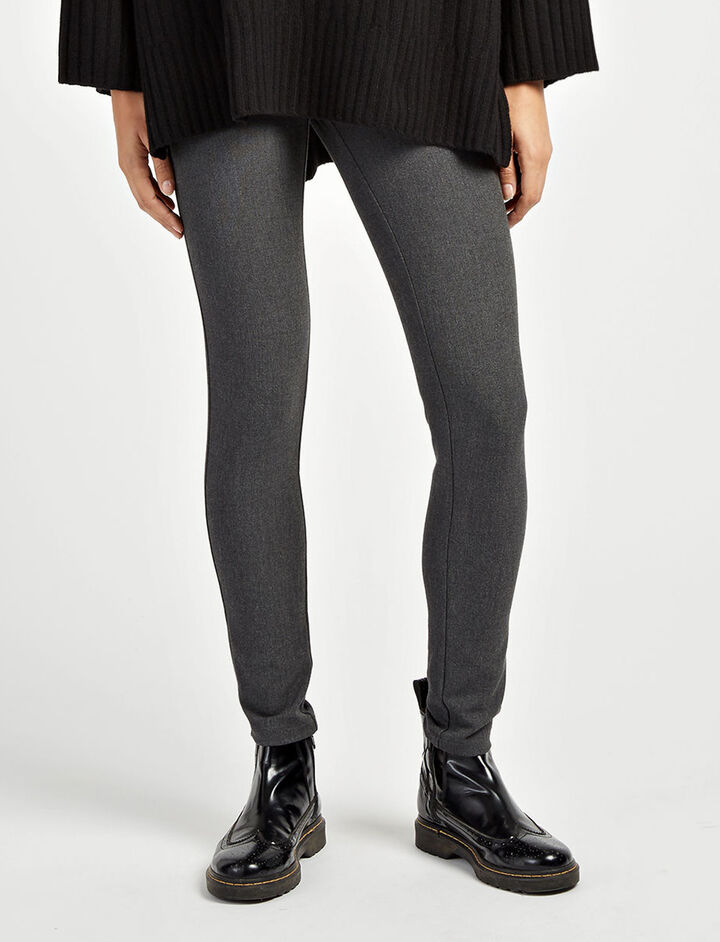 Gabardine Stretch Chiné Leggings, in GRAPHITE, large | on Joseph