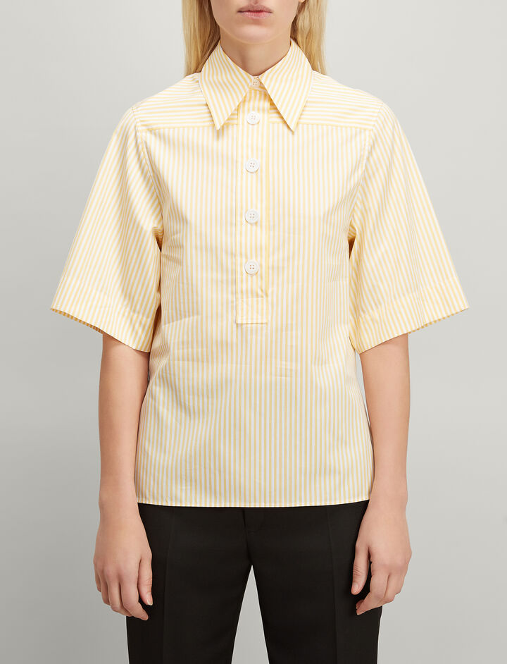 Joseph, Candy Stripe Cotton Shirt, in CUSTARD