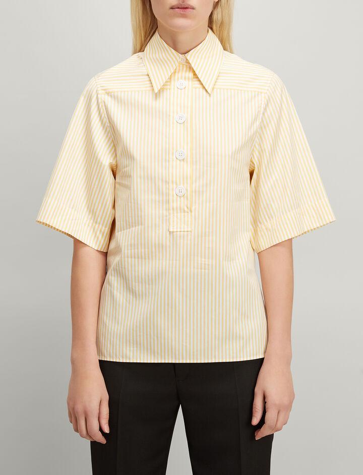 Candy Stripe Cotton Shirt, in CUSTARD, large | on Joseph