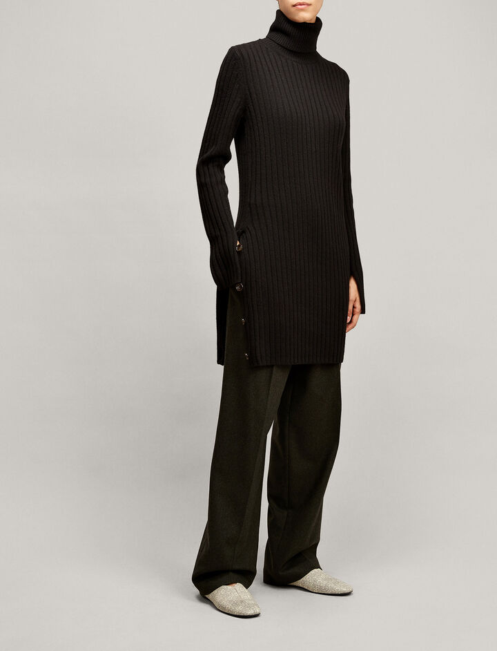 Joseph, Rib Tunic Soft Wool Knit, in BLACK