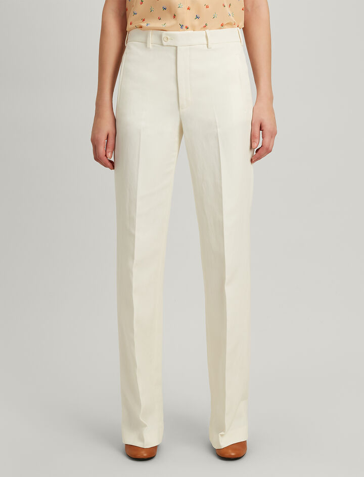 Ramie Cotton Kosta Trousers, in ECRU, large | on Joseph