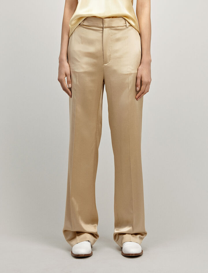 Silk Satin Ferdy Trouser, in BEIGE, large | on Joseph
