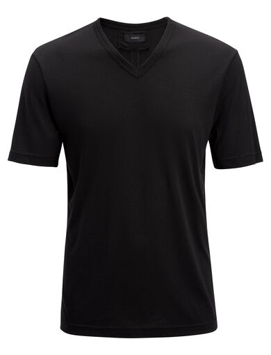 Lyocell Jersey  V Neck Tee, in Black, large | on Joseph