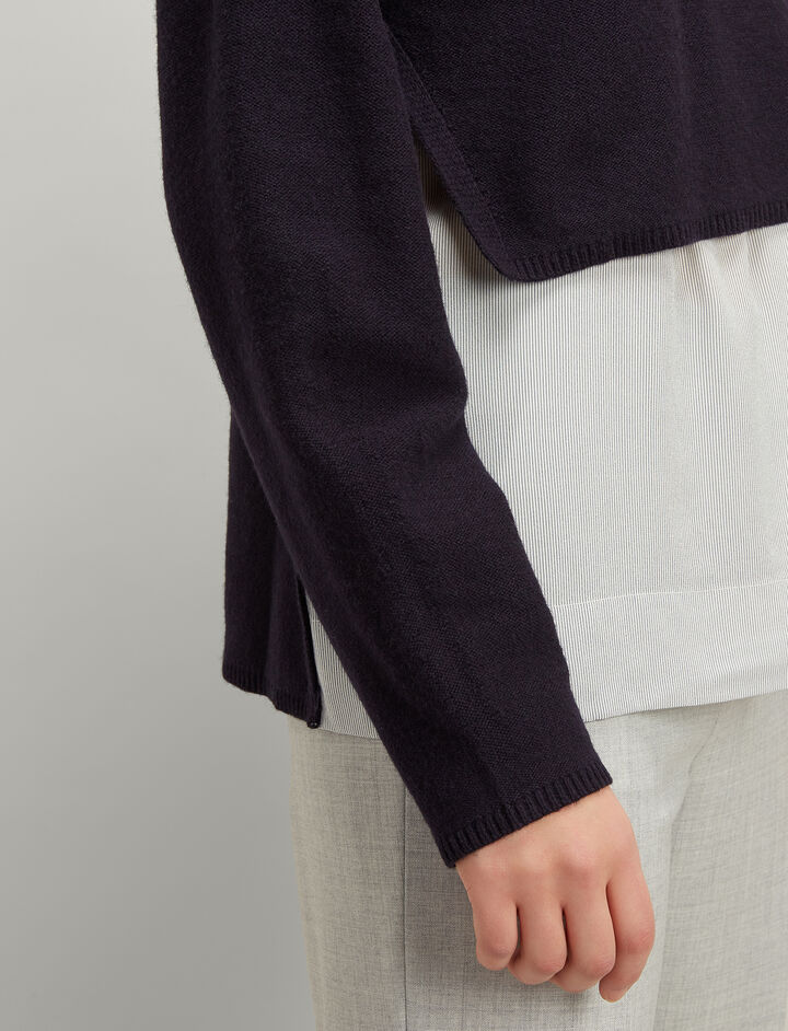 Joseph, Fine Knit and Crepe de Chine Long Sleeve Sweater, in NAVY