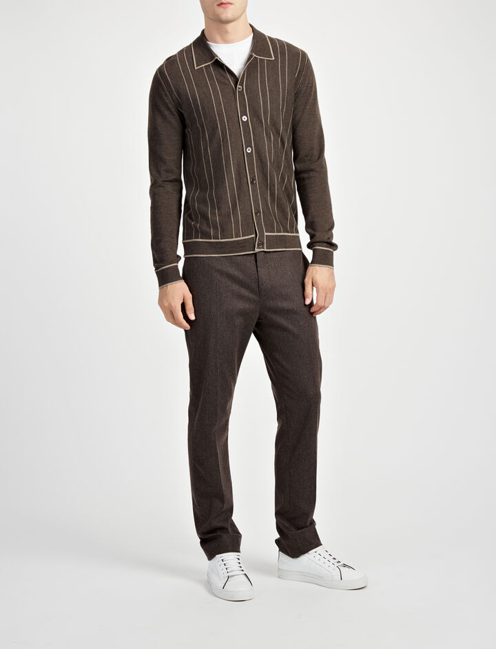 Cardigan en laine mérinos à rayures, in TAUPE/SAND, large | on Joseph