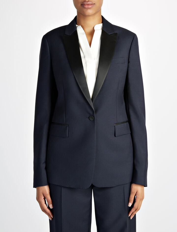 Joseph, Wool Mohair Hampsted Tuxedo Jacket, in NAVY