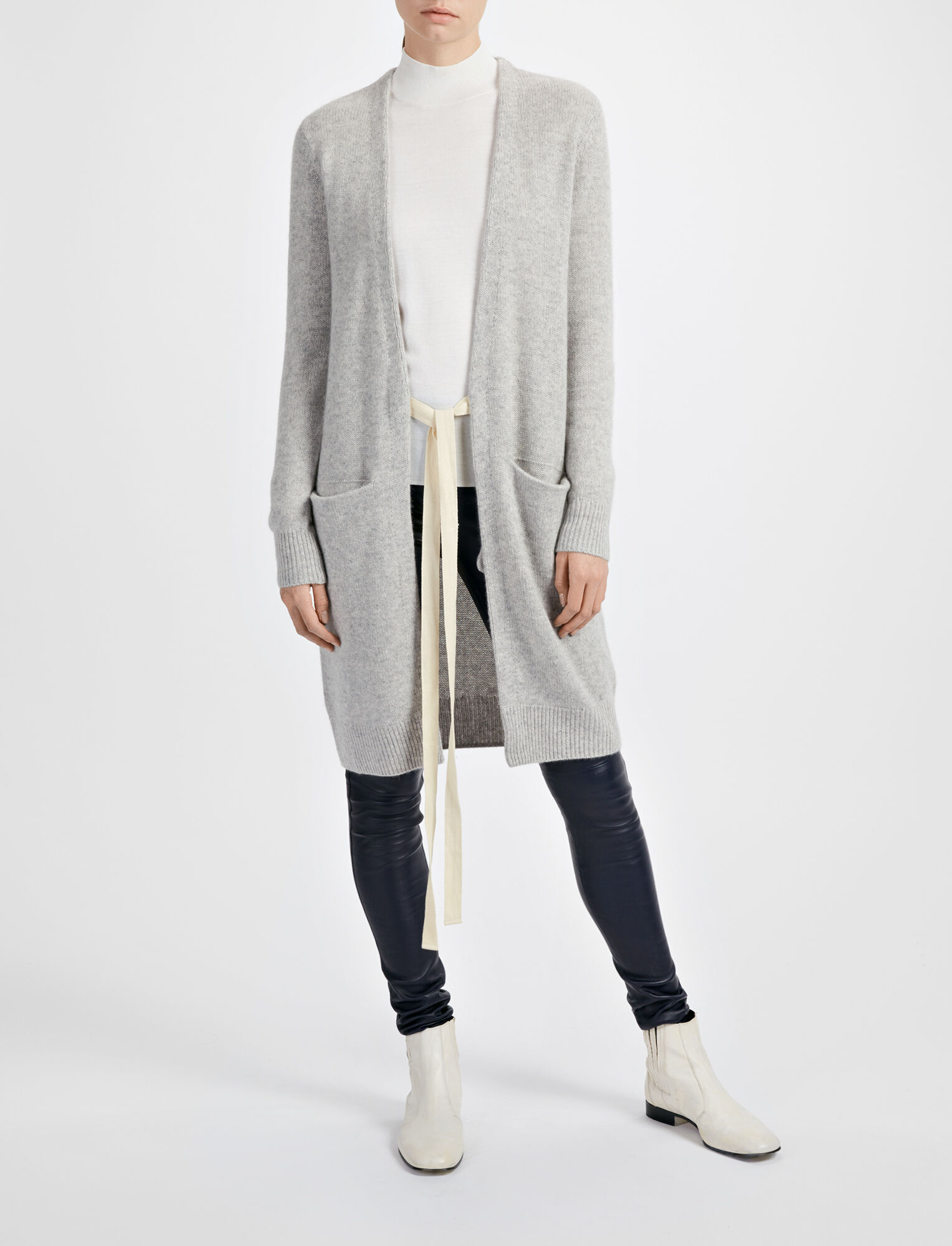 Joseph, Open Cashmere Long Cardigan, in GREY CHINE