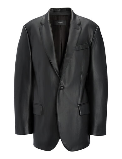 Real Fake Leather Heldal Jacket, in BLACK, large | on Joseph