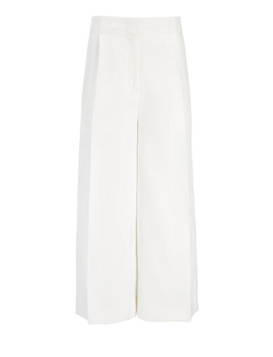 Pantalon Mika en ramie de ramie de coton, in OFF WHITE, large | on Joseph
