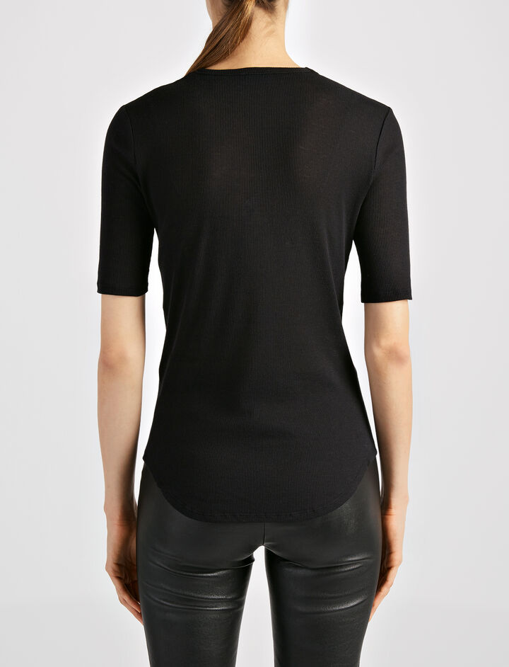 Cotton Cashmere Rib Tee, in BLACK, large | on Joseph