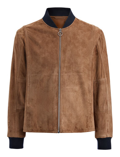 Cashmere Suede Kendal Jacket, in CLAY, large | on Joseph