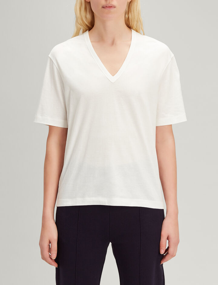 Joseph, Mercerized Jersey V Neck Tee, in OFF WHITE
