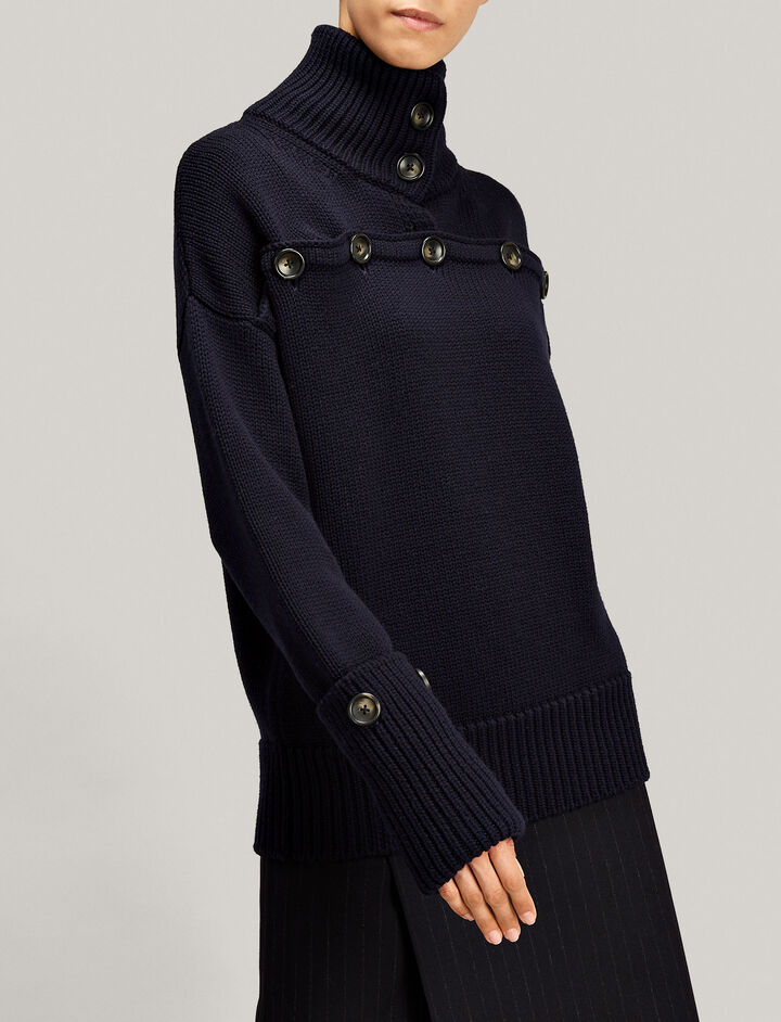 Joseph, High Neck Sweater Button Knit, in NAVY