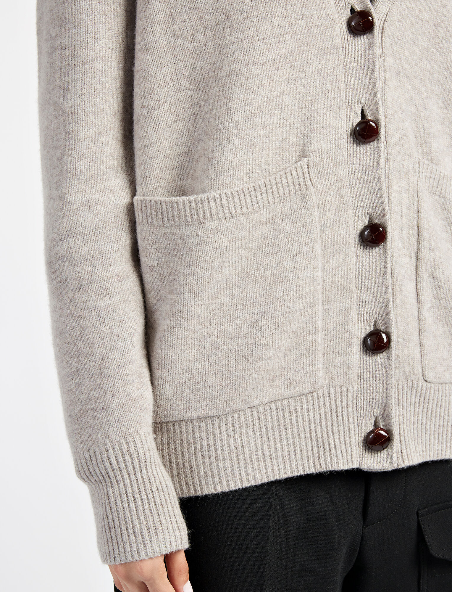 Soft Wool Boyfriend Cardigan in White | JOSEPH