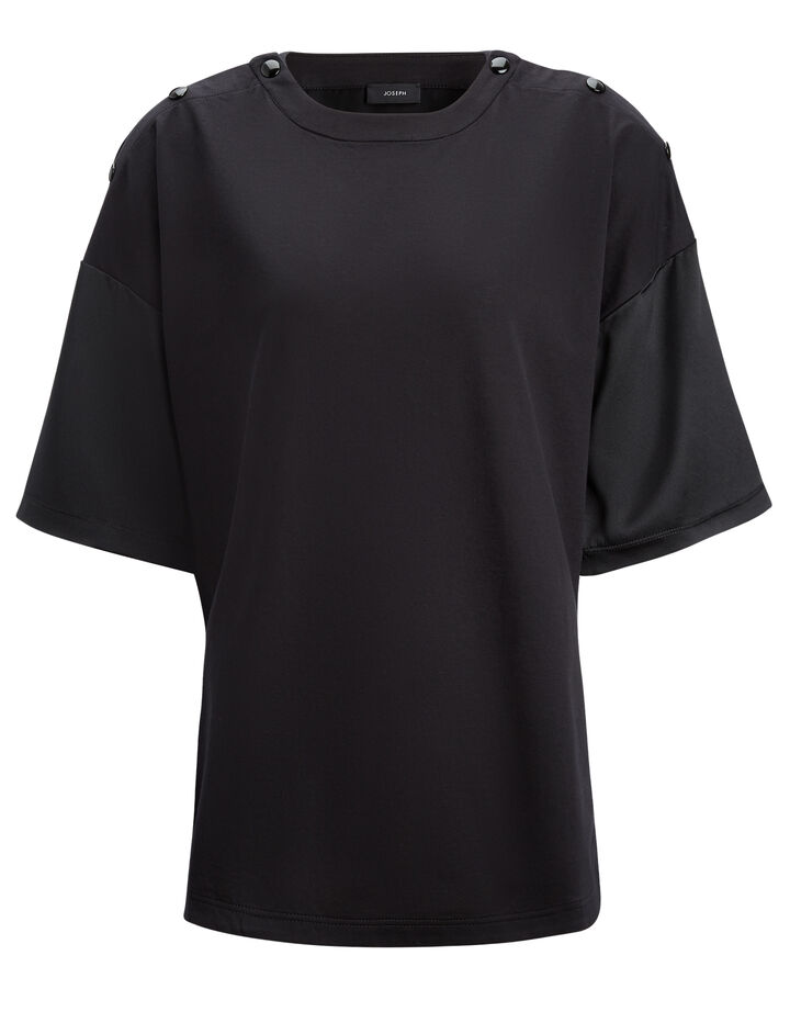 Joseph, Silk Satin and Jersey Crew Neck Tee, in BLACK