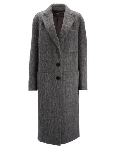 Double Alpaga Jimo Coat, in GRAPHITE, large | on Joseph