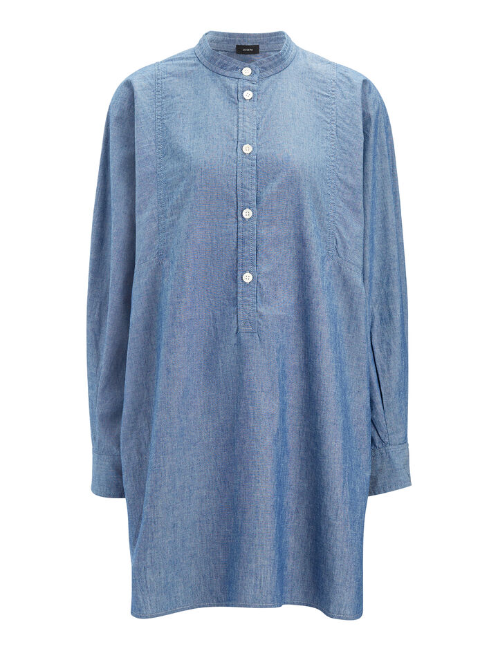 Chemise Lennox en denim blues, in BLUE, large | on Joseph