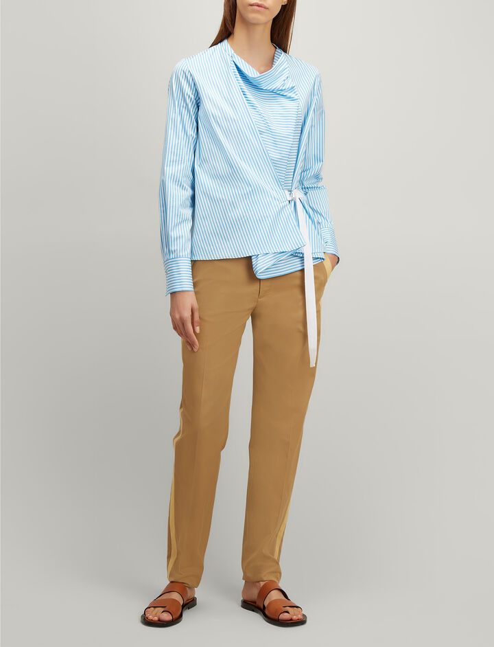 Twill Chino Fever Tuxedo Trousers, in CAMEL, large | on Joseph