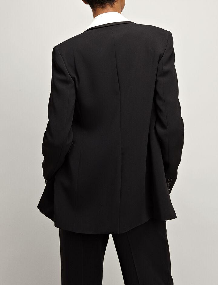Viscose Cady Laurent Jacket, in BLACK, large | on Joseph