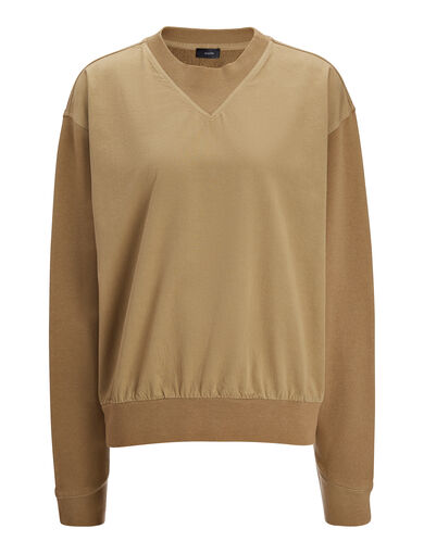 Garment Dyed Molleton Sweater, in ARMY, large | on Joseph