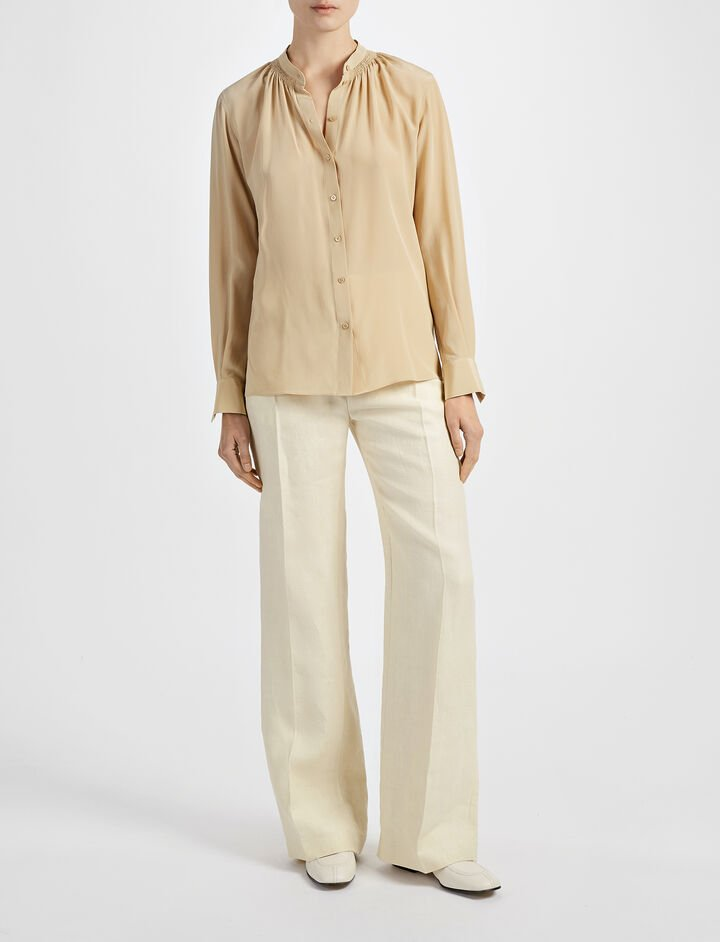 Crepe de Chine Stan Blouse, in STRAW, large | on Joseph