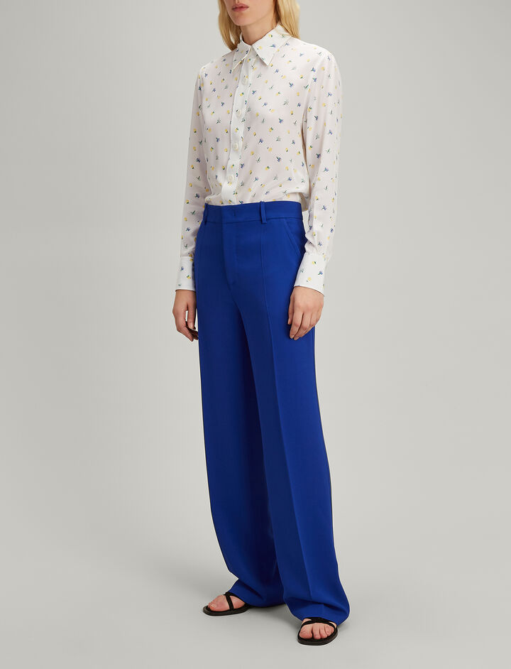 Viscose Cady Ferdy Trousers, in COBALT BLUE, large | on Joseph