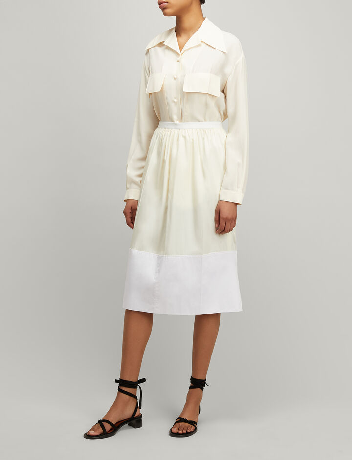 Joseph, Tussah Silk Oliver Skirt, in CREAM
