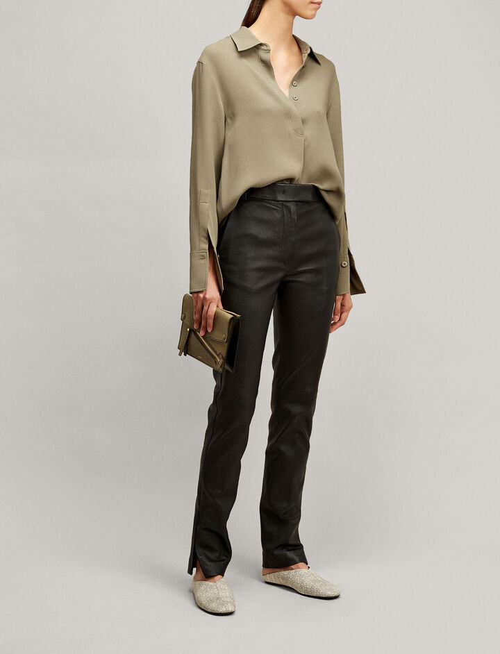 Joseph, Reeve Stretch Leather Trousers, in BLACK