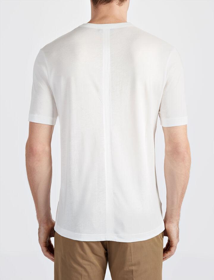 Tee shirt col V en jersey de lyocell, in WHITE, large | on Joseph
