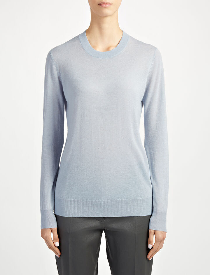 Cashair Sweater, in POWDER BLUE, large | on Joseph