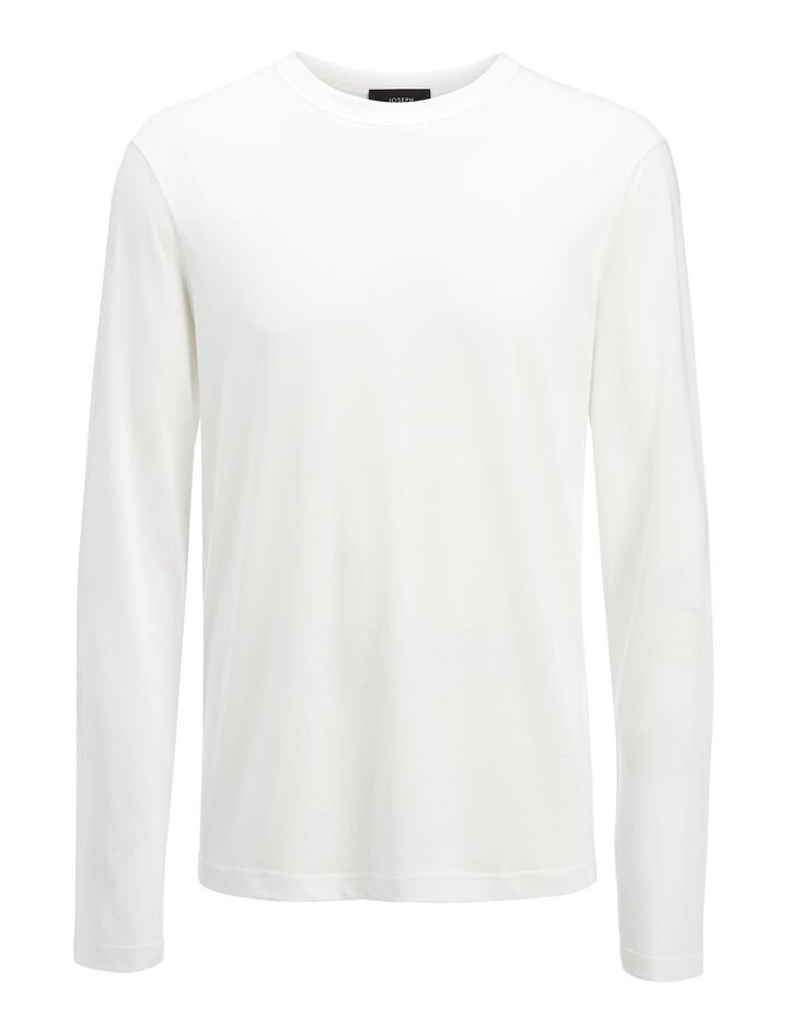 Lyocell Jersey Top, in WHITE, large | on Joseph