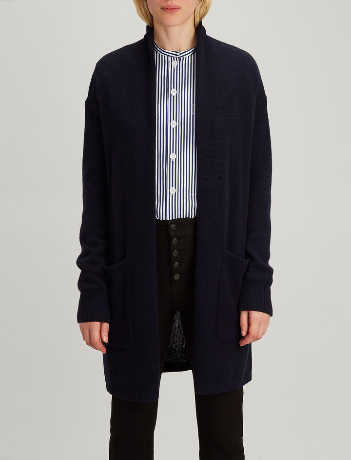Open Cashmere Long Cardigan, in NAVY, large | on Joseph
