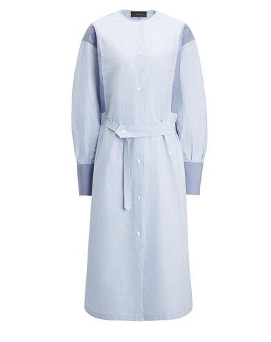 Mix Shirting Stripe Eli Dress, in BLUE COMBO, large   on Joseph